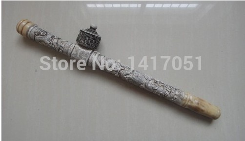 Collectibles Chinese handwork Carved Dragon old bone long smoking pipe FREE SHIPPING(China (Mainland))