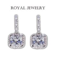 New Arrival Romantic Jewelry 2014 Stud Earrings For Wedding Elegant Real 925 Silver Princess Diamond Wedding Jewelryd001