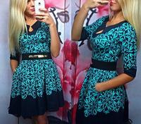 2015new Fashion dress casual office half long dresses vestido de festa Geometric blue mosaic sexy ladies dress