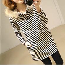 Samt Winter verdicken gestreiften Mutterschaft Kleider Tops Kleidung Schwangerschaft Kleidung für schwangere Frauen(China (Mainland))