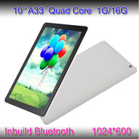 Cheap 10inch Quad Core Tablet Pc Android 4.4 Allwinner A33 HD Screen 1024*600 Quad Core Tablets 1G/16G Of Bluetooth Dual Camera