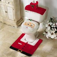 3pcs/lot bathroom Santa claus Toilet Seat Cover rug set new year christmas decoration enfeites de natal navidad christmas gift