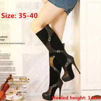 New 2015 famous brand style women boots platform wedge ultra high heels shoes woman autumn winter leather buckle knee high boots