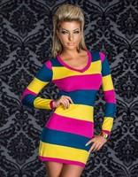 New Bodycon Dress Women Elegant Colorful Striped Long Sleeve Winter Dress  Sexy dress size L XL XXL