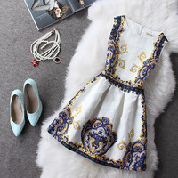 Free shipping 2015 spring new Women / girls ladies temperament Slim court dress printed A-line fashion
