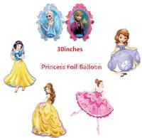 "30"" Frozen Princess Foil Balloon Big Size Decoration Air Balloons Belle Princess Sophia Balloon Snow White"