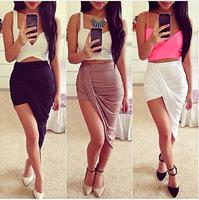 Hot 2014 New Women Skirt Asymmetry Tensile High Waist Maxi Skirt 10 Color Skirts