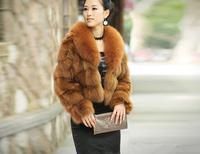 2014 New Winter Genuine Fox Fur Short Design Slim Fur Coat Women's Overcoat