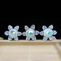10PCS  Manufacturers selling Rhinestone flowers hairpin  bride  Crystal Tiara