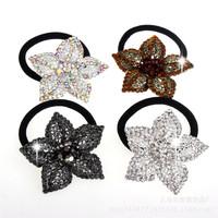 2015 South Korean new hair fashion crystal flowers circle super elastic hair rope elastic rope