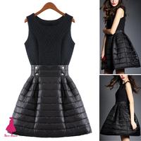 Rockabilly Retro Celebrity Goddess Hepburn O-Neck Black Dresses Swing Down Cotton Dress
