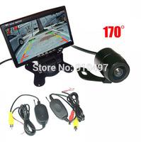 "Wireless HD Mini Reverse Parking Backup Parking Camera 170 Degree Wide Angle+7"" LCD Monitor Car Rear View Kit"