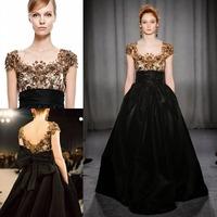Gorgeous Handmade Beading Dresses Scoop Short Sleeve A Line Floor Length Bow Waist Taffeta Dress Party Evening Elegant