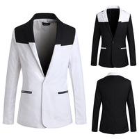 2014 new design  Spliced color men's outwear slim fit suits fashion men suit  black and white  single button Blazers  PK04