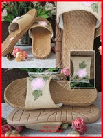 Natural Flax Straw Slippers Soft Summer House Slippers High Quality Bedroom Slippers For Women