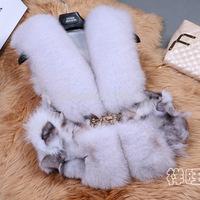 The new 2014 fashion fox fur oversized fur coat warm fur collar fur vest free shipping