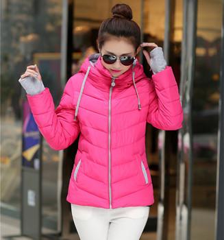 2015 новой корейской версии женская мода показать тонкие с длинными рукавами основные куртка с капюшоном тонкий вниз пальто на вате