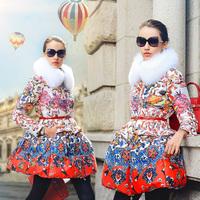 Prase 2015 Women Floral Winter Down Coat Luxury Fox Fur Collar Print Slim Long White Duck Jacket Plus Size XXL Overcoat Parka