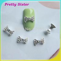 100pcs of 9mmx5mm Metal 3D Nail Bowtie Design DIY Nail Art Decoration Wholesale