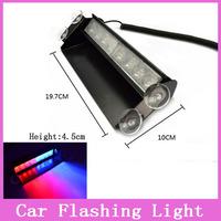 New Car Styling 8 LED Red+Blue Car Police Auto Strobe Bulbs Flashing Light Dash Emergency 3 Fog Lights Police Warning Lamps