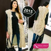 2015 Fashion Women Hairy Shaggy Faux Wool Fox Fur Cardigan Long Trench Vest  Coat Outerwear New Arrivals