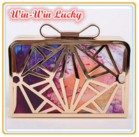 2015 New Fashion Alloy Frame Colorful Dyeing Hollow Bow Buckle Handbag Women Party Evening Bag Clutch Purse With Shoulder Chain