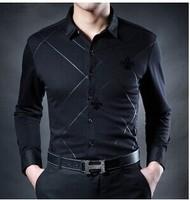 2014 Autumn New Men's Clothing High Quality Slim Male Business Shirt Fashion Black Business Long Sleeve Dress Shirts Freeship