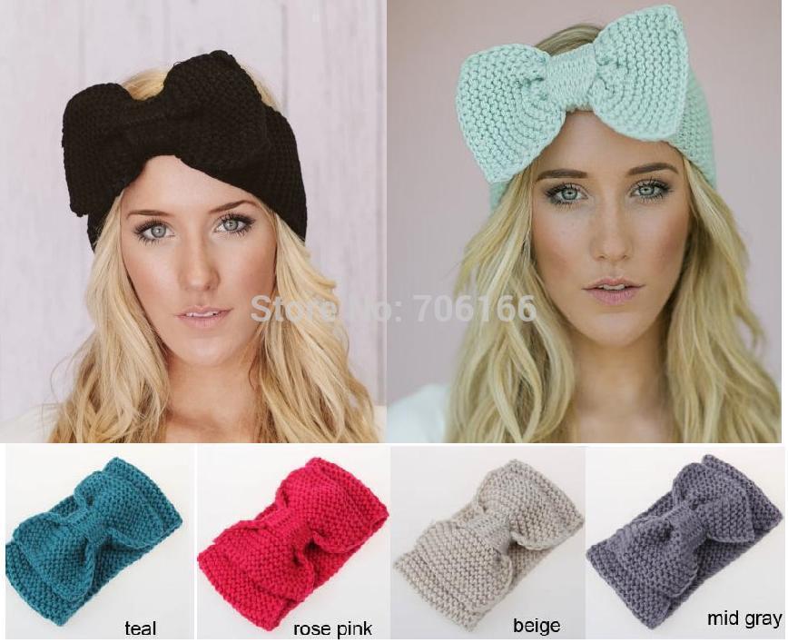 Classic handmade bow knit headband Ear Warmer girls winter headwrap ,can custom ,DHL/EMS free shipping(China (Mainland))