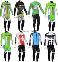 Free shipping! 2014 17-24 hot sale long sleeve cycling wear clothes bicycle bike cycling jersey jacket bib pants set+GEL pad