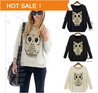 2015 New Arrival Women Spring Autumn Bat Sleeve Owl Pattern Pullover Lady Casual Knitting Cardigan Knitwear Free Size