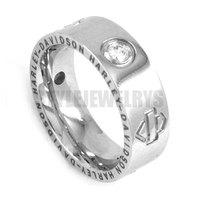 Free shipping! Rhinestone Biker Ring Stainless Steel Jewelry Fashion Silver Women Ring Mix Sizes SWR0029