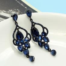 Shiny Brand Montana Blue Rhinestone Stud Earrings For Women Colar Feminino Wedding Earing Unusual Bridal Fine