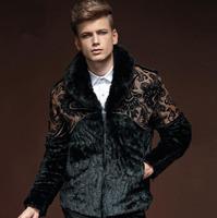 Vintage Palace Men'S Faux Leather Fur Coat Long Sleeves Splice Leather Men Winter Fashion Warm Leather Jacket Chaqueta Hombre