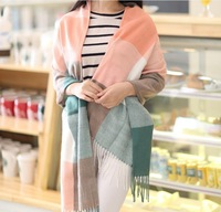 Autumn and Winter Scarf Women Fashion Plaid Wraps Comfortable Warm Wool Pashmina Tassel Famous Design Brand Scarf