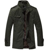 Men Winter Warm Fashion Loose Windy Jacket Coat Single Breasted Design With Velvet Outdoor Coat