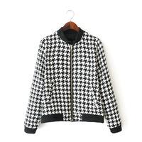 hot sale new arrival women fashion casual loose Swallow gird stand collar jacket  women baseball jacket