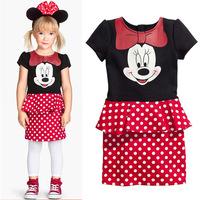cotton 2015 summer kids clothing children clothes  baby girls Princess dress Cartoon mini dot Fashionable dress for girl
