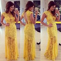 2015 new fashion short-sleeved dress sexy halter Slim openwork lace dress  Hot Women D8807