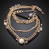 Free shipping! Hot personalized multi layer necklace chain, charm casual costume necklace