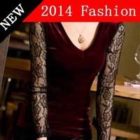 2014 new fashion crop top casual christmas t shirt women vintage lace casual dress shirt brand renda bodysuit blouse 1108LX