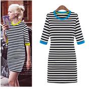 New 2015 Autumn Winter Women Striped Dress Fashion Patchwork Half-Sleeve Office Dresses