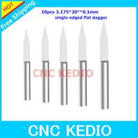 10 pcs/lot 3.175mm 20 Degree 0.1mm Flat Bottom Cutting Tool Bits, V Shape Carbide Engraving Tools Milling Cutters Free Shipping