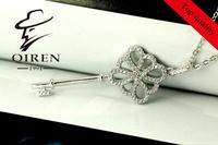 women's  jewelry delicatekey shape Sterling silver 925 , women's necklace Cubic Zirconia