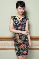 2015 spring/summer new women dress M-3XL sexy V-neck vintage flower print dress for fashion lady short sleeve casual dress G92Y
