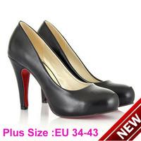 New 2014 Plus Size Women High Heels Shoes Fashion Round Toe Red Bottom Women Pumps Elegant Ladies Office Heels Wedding Shoes
