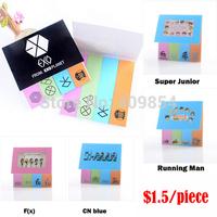 kpop k-pop Memo pad note pads mix color 120p note paper bigbag gd lee min ho snsd shinee super junior sj cn blue uniq etc.