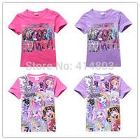 Joy Chang's 2015 new girl summer short sleeve Monster High Tshirts kids t-shirt 110-150cm 5pcs/lot 2 colors