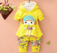 Retail 1 set 2015 new baby girls clothing sets kids Cartoon long sleeve clothes suits children Girls hoodies +pants TZ50
