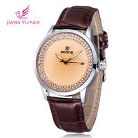 New Design Skone Brand Fashion Quartz Leatehr Strap Watch For Women Ladies Casual Watch With Rhinestone Wristwatch