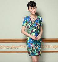 2015 spring/summer new women dress M-2XL 2 color vintage flower print dress for women short sleeve casual slim women dress G106Y